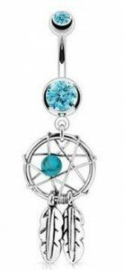 Dreamcatcher & Feathers Belly Bar in Aqua Blue