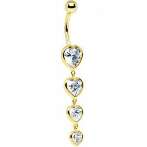 14ct Yellow Gold & Zirconia Quadruple Heart 14G Belly Bar