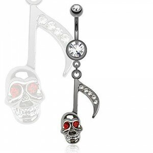 Surgical Stainless Steel Belly Bar with Black & Silver Skull