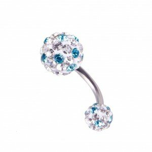 Blue & White Crystal Rhinestone Belly Button Barbell