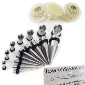 10 Piece Stainless Steel Ear Stretching Kit with Gauge Gear Ear Stretching Balm