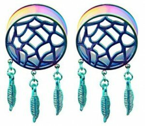 Pair of Rainbow Dream Catcher Flesh Tunnels (10mm)