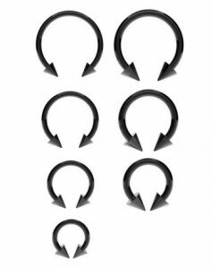 Surgical Steel Horseshoe Bar Anodized Black with Cones – Various Sizes Available
