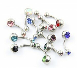 14G Stainless Steel Double Jeweled Crystal Belly Bar x12