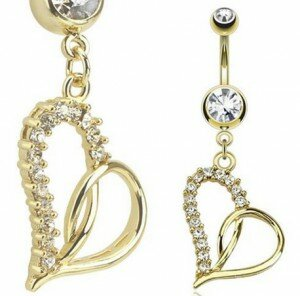 14K Gold Plated Belly Bar with Heart Charms