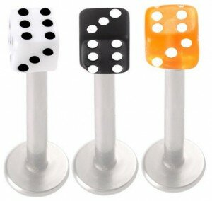 16G Stainless Steel Labret Studs – Dice Shape – 3 Pieces