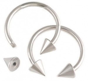 16G Stainless Steel Horseshoe Rings x2
