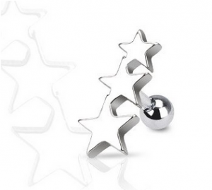 Triple Star Tragus & Helix Barbell – 16G