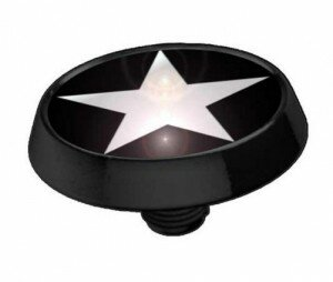 Dermal Top Flat Disk in Black with White Star